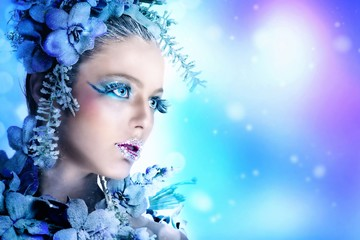 Winter makeup of a beautiful woman