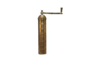 Albanian antique brass coffee grinder, isolated on white