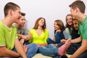 Teenagers having fun at home