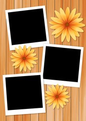 frame picture with sun flower on wood background