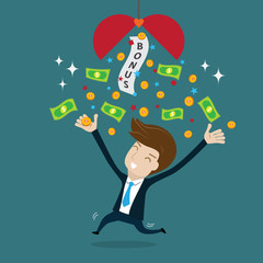 Businessman happy with bonus