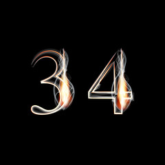 Fire and Smoke font. Numbers 3 4.