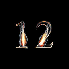 Fire and Smoke font. Numbers 1 2.