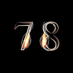 Fire and Smoke font. Numbers 7 8.