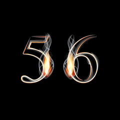 Fire and Smoke font. Numbers 5 6.