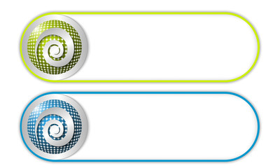 two vector buttons with grid and spiral