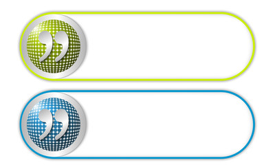 two vector buttons with grid and quotation mark