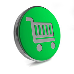 shopping cart circular icon on white background