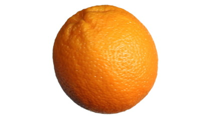 orange rotates then stops on white background, alpha channel