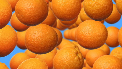 ripe oranges rotating in rows, background with alpha channel