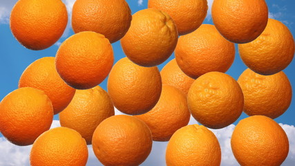 oranges rotate and fall down,background with alpha channel, loop