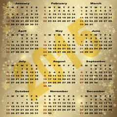 2015 New Year Gold Calendar