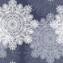 Beautiful Seamless Pattern with Snowflakes (Vector)
