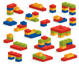 Set of different plastic pieces or constructor