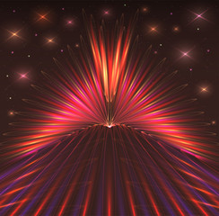 Abstract background with bursts of laser rays, starry sky. Dark