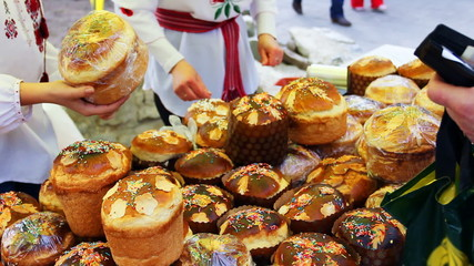 sale of paska (Easter bread in Ukraine) on Ukrainian fair
