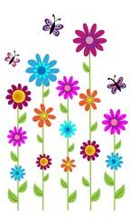 Flores de colores y mariposas.