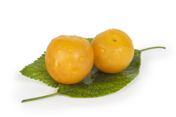 Fresh yellow plums on green leaves