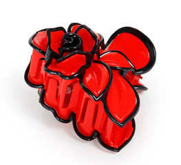 Red plastic hair clip