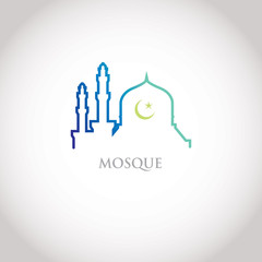 Colorful line design - blue gradation mosque and crescent moon