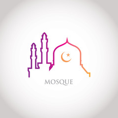 Colorful line design - red gradation mosque and crescent moon