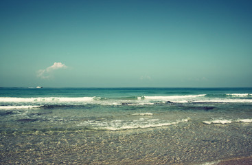 background of beach and sea waves. vintage filter