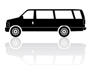 Extended van silhouette vector icon