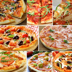 Set different kinds of pizza with olives, tomatoes and mushrooms