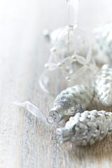 Vintage Christmas ornaments; close up