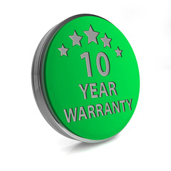 Ten year warranty circular icon on white background