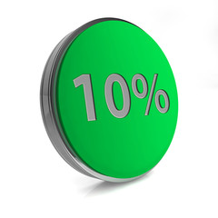 Ten percent circular icon on white background