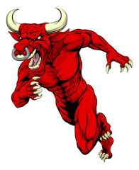Red bull mascot running