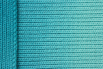 Turquoise wool background with layered side piece
