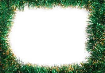 Frame of green Christmas garland