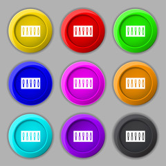 Dj console mix handles and buttons icon symbol. Trendy, modern