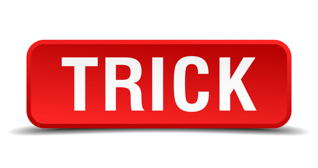 Trick red 3d square button isolated on white