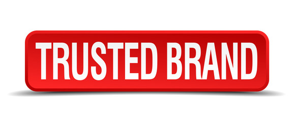Trusted brand red 3d square button isolated on white