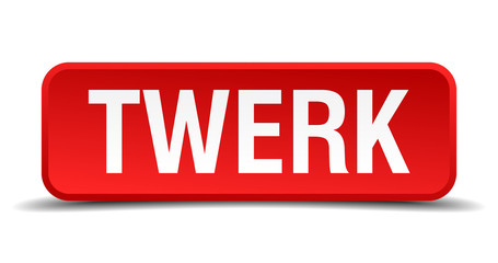 Twerk red 3d square button isolated on white
