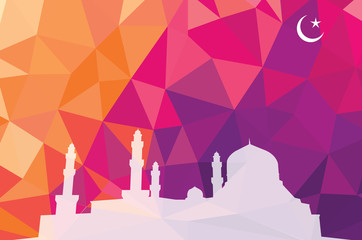 Colorful mosaic design - mosque white silhouette, red color