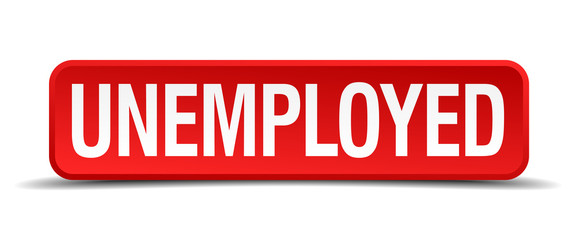 Unemployed red 3d square button isolated on white