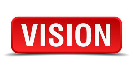 Vision red 3d square button isolated on white