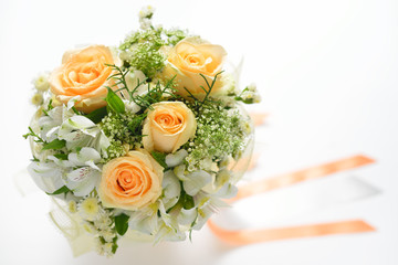Beautiful bouquet of flowers isolated on white