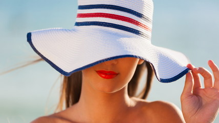 beautiful  face with white hat