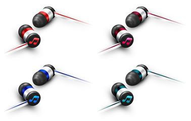 Kolorowe ikony słuchawek