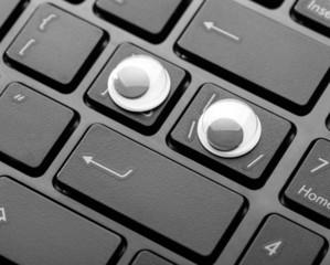 Closeup keyboard of a modern laptop