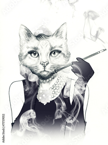 fashion animal .watercolor illustration - 71739052