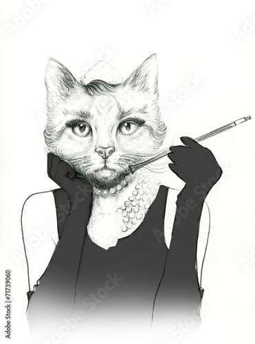 fashion animal .fashion illustration - 71739060
