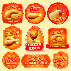 chicken badges and stickers