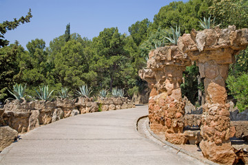 Barcelona - Guell park designed by Antonio Gaudi