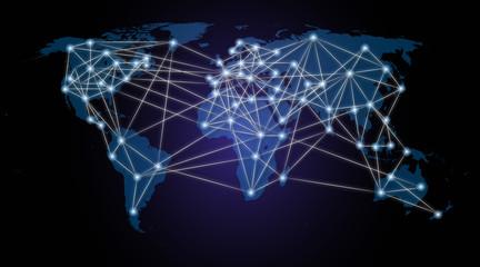 carte du monde trajets